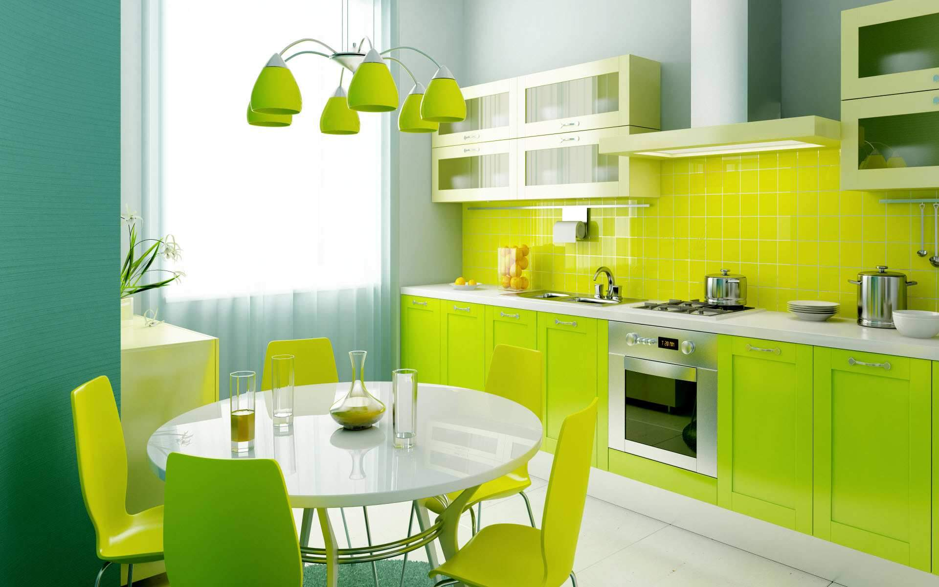 Green Kitchen Home Interior Designs